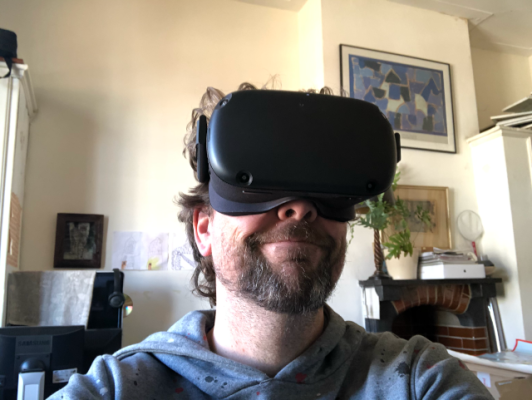 An Oculus Quest in action (with attached human)